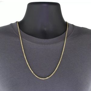 """30"""" Real Solid Gold Italy Diamond Cut Rope Chain"""